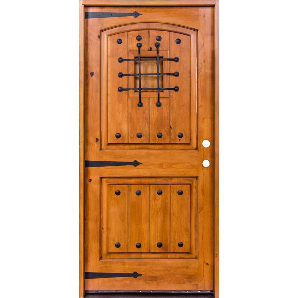 Krosswood Doors 48 In X 96 In Mediterranean Knotty Alder Arch Top Unfinished Single Right Hand Inswing Prehung Front Door Phed Ka 002v 40 80 134 Rh M1 0 The In 2020 Exterior Doors Door Design Wood Knotty Alder