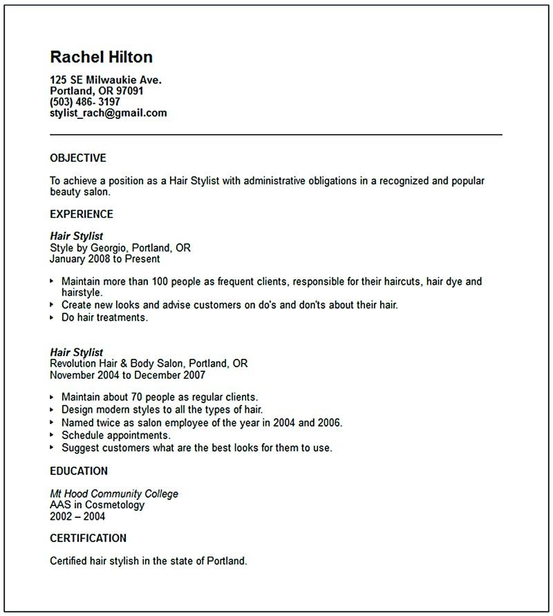 hair stylist resume examples Hair stylist resume is a must thing - examples of good resume objectives