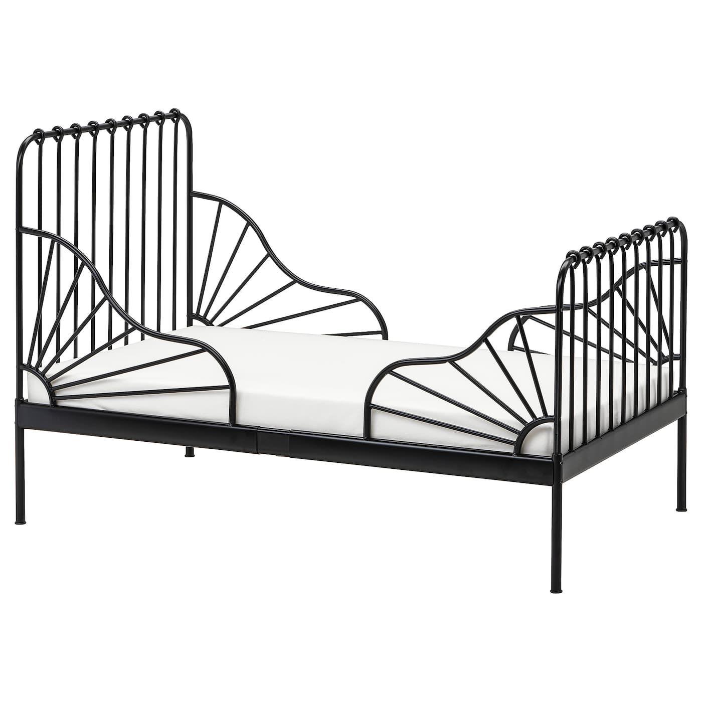 Ext Bed Frame With Slatted Bed Base Black 38 1 4x74 3 4 Bed