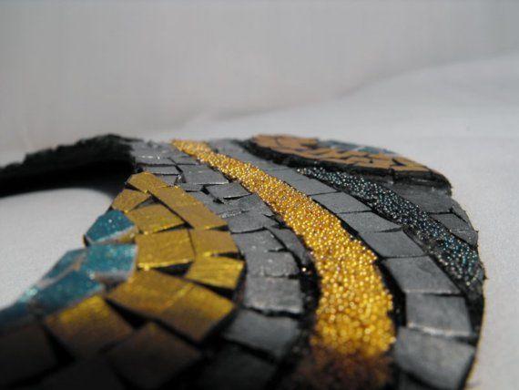 Leather snake mosaic necklace by julishland on Etsy