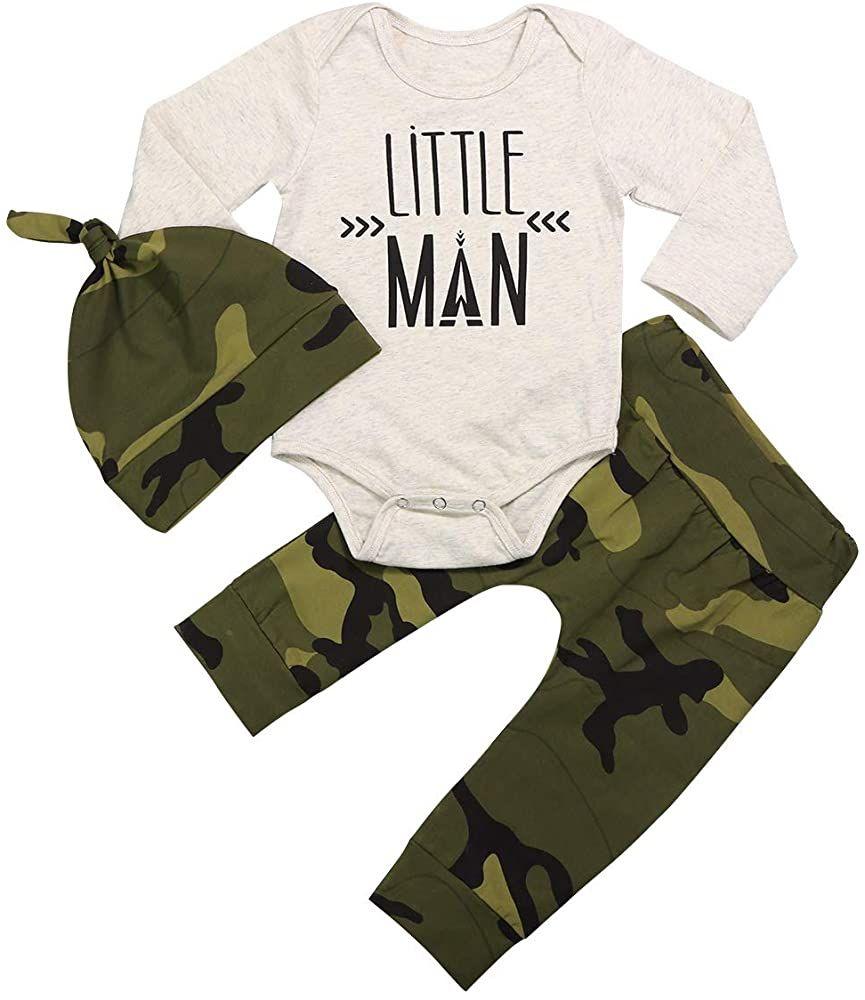 Cute Hat 3pcs Outfit Set Newborn Baby Boy Girl Clothes Little Man Long Sleeve Romper,Plaid Pants