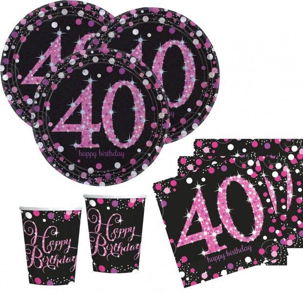48 Teile Zum 40 Geburtstag Pink Glitzer Fur 16 Personen
