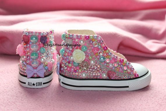Custom Made to Order OOAK High Top Converse by GlitzNPearlsDesigns