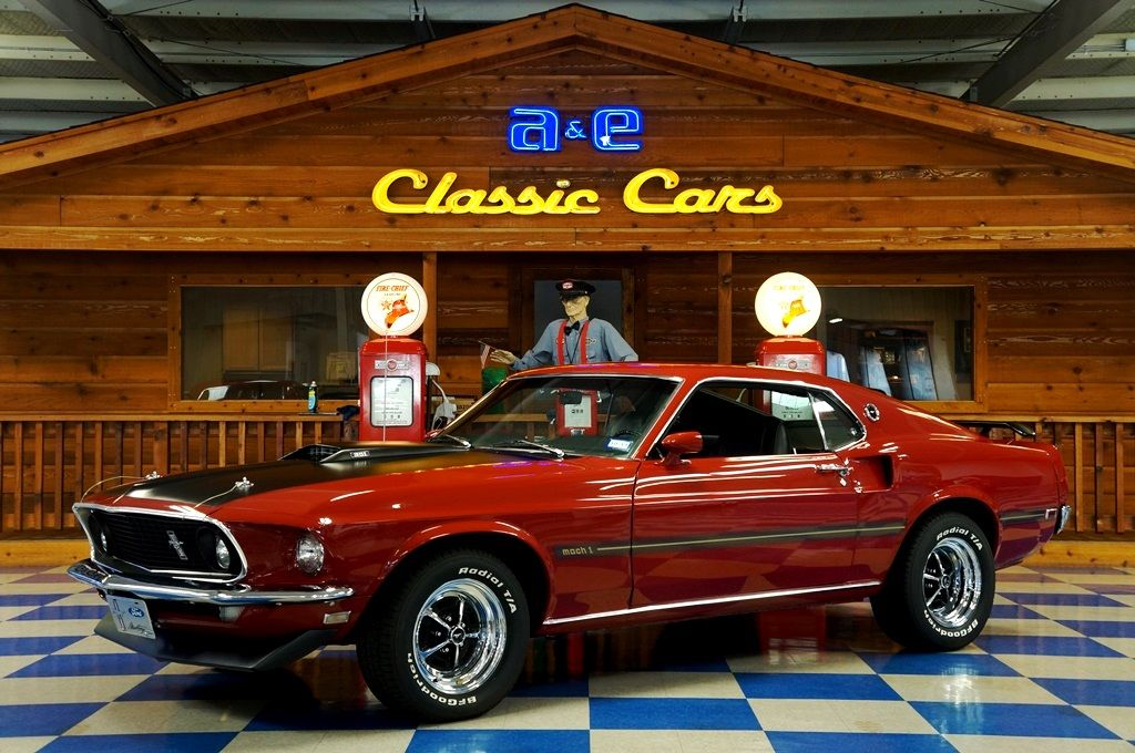 1969 Ford Mustang Mach 1 – Red / Black – AE Classic Cars