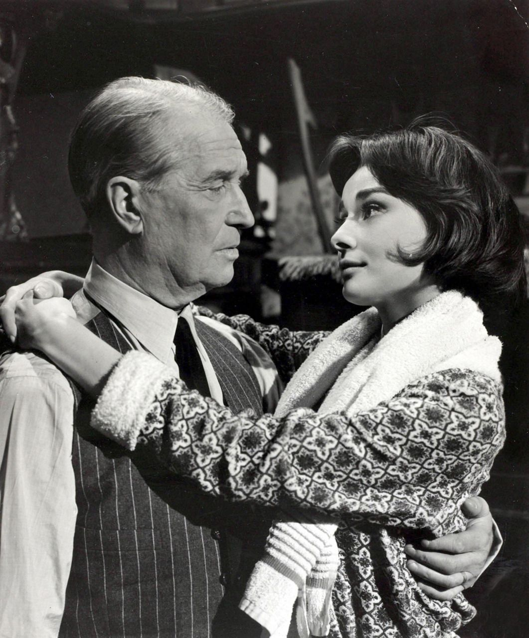 Audrey Hepburn with Maurice Chevalier on the set of Love in the afternoon 1957
