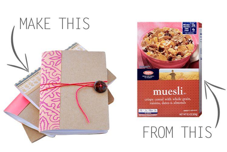 #Tutoriel pour faire un petit carnet #recup à partir de boites de céréales. On peut améliorer le côté recyclé en utilisant du papier de récup - mini pocket notebooks made from a cereal box!