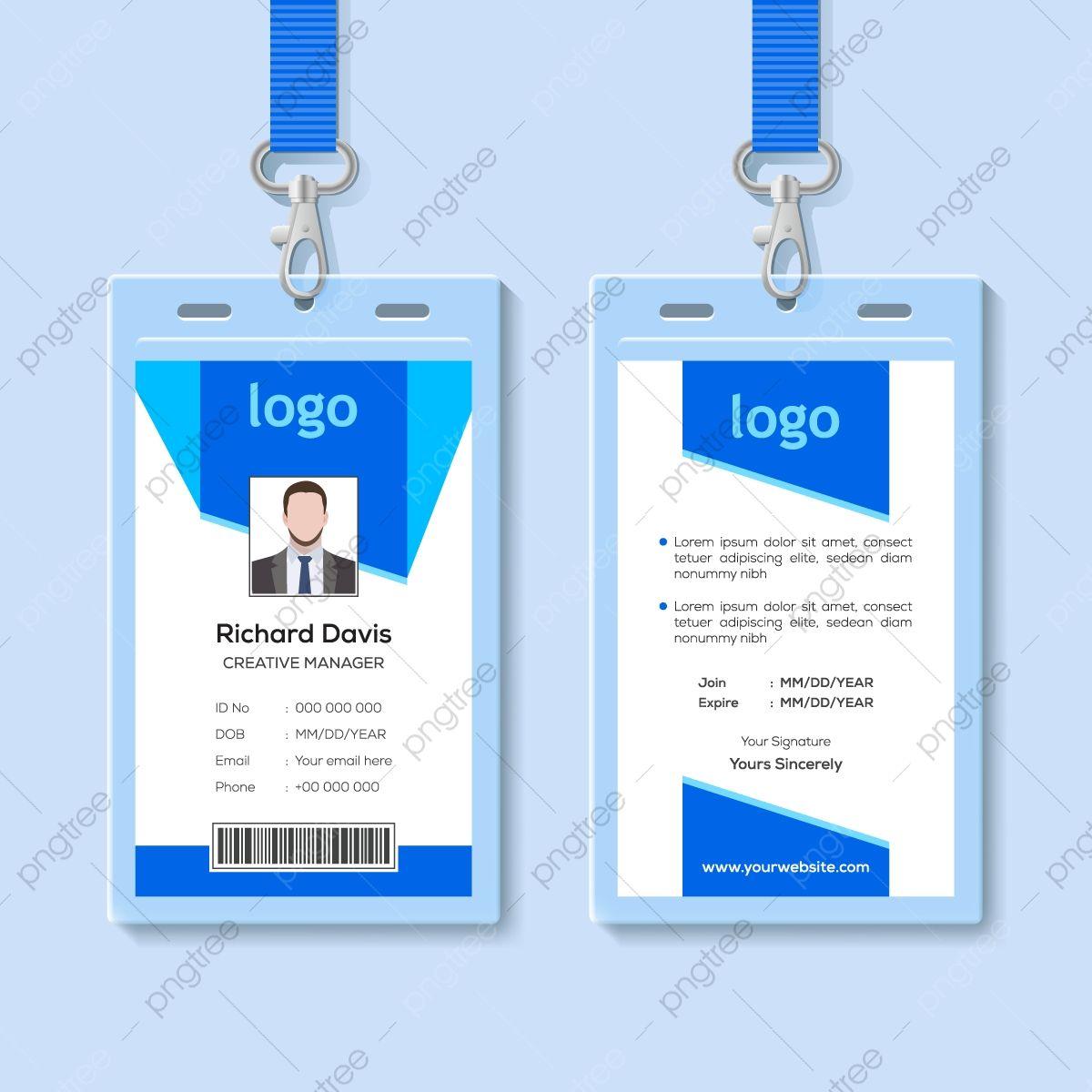 Blue Employee Identity Card Template Identity Card Design Employees Card Id Card Template