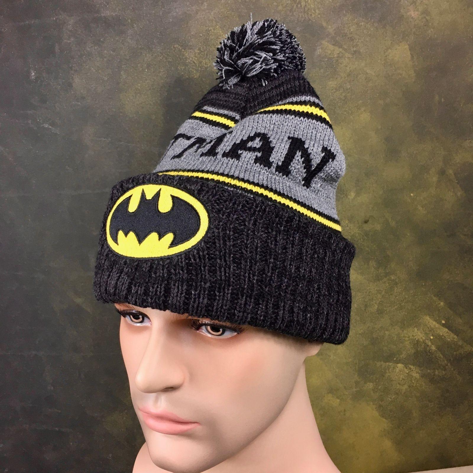 Men s DC Comics Batman Knit winter Beanie Hat with Pom Heavy Duty Quality  Cap  9be05612344