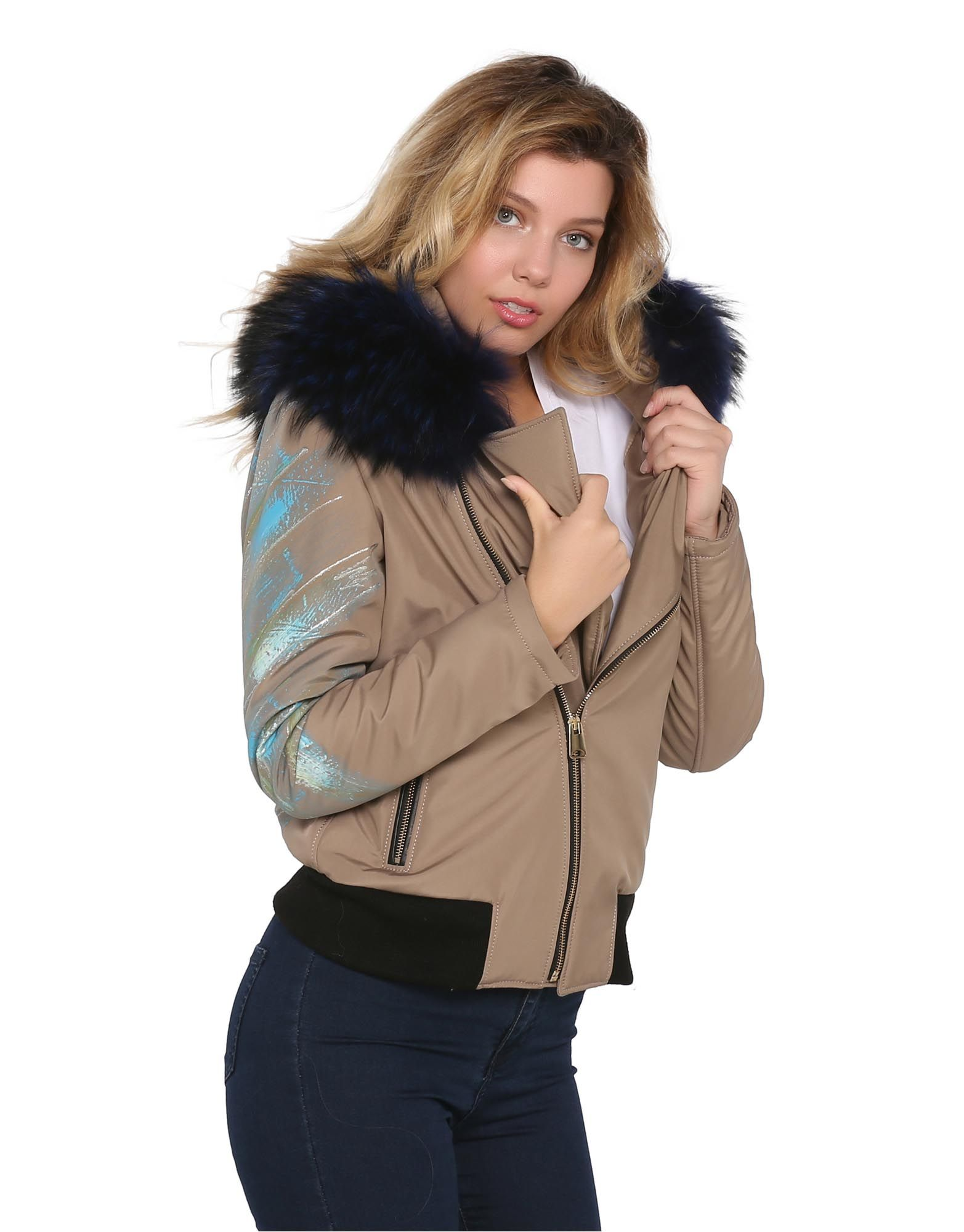 * Beige Leather&Fabric Woman Jacket With Real Fur