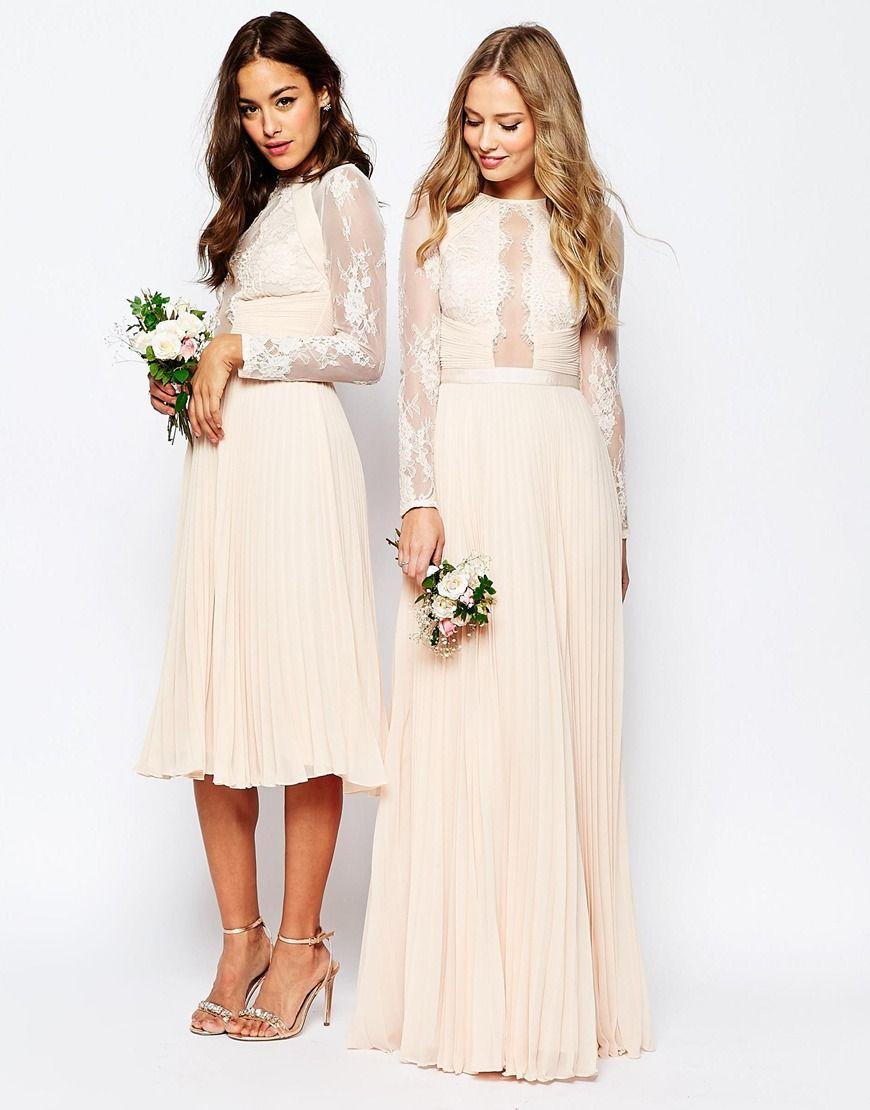 Popular Image of ASOS WEDDING Pretty Lace Eyelash Pleated Maxi Dress