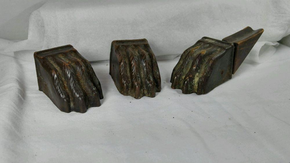 ANTIQUE Brass Bronze Claw Foot Hardware Leg Base Furniture Feet Animal Paw  3Pcs