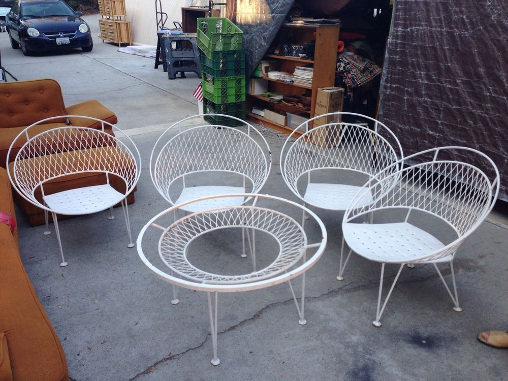 155 Each Mid Century Modern Wrought Iron Patio Bistro Set