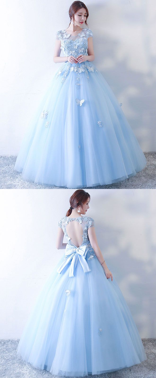 Blue tulle lace long prom dress blue sweet dress vestidos