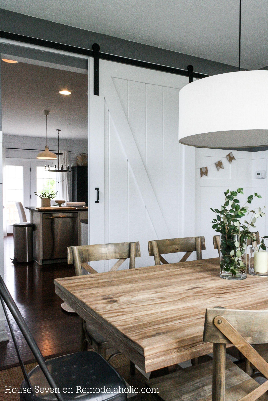 Simple diy barn door tutorial beautiful table and for Barn door dining room