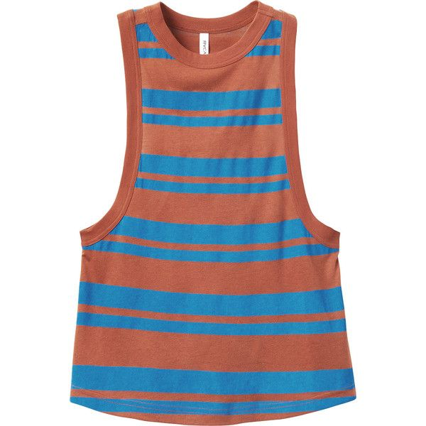 RVCA Women's Benny Lane Striped Tank Top ($39) ❤ liked on Polyvore featuring tops, ginger, blue jersey, sleeveless tank, blue tank top, blue tank and striped tank