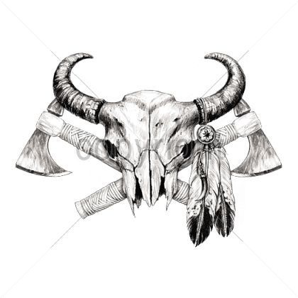 Bandido Skull Tattoo Google Search Indian Skull Tattoos Bull Skull Tattoos Native Tattoos