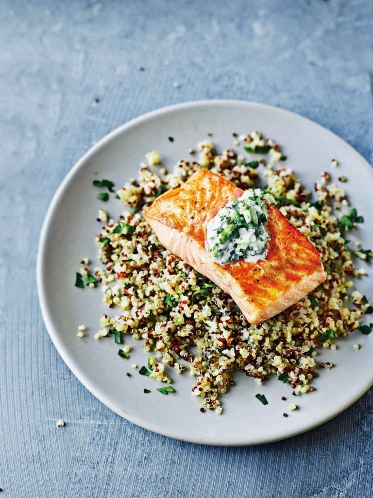 Salmon and quinoa tzatziki salad