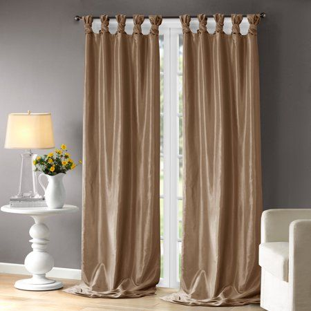 Home Essence Lillian Twist Tab Lined Window Curtain Walmart Com White Paneling Panel Curtains Curtains Living Room