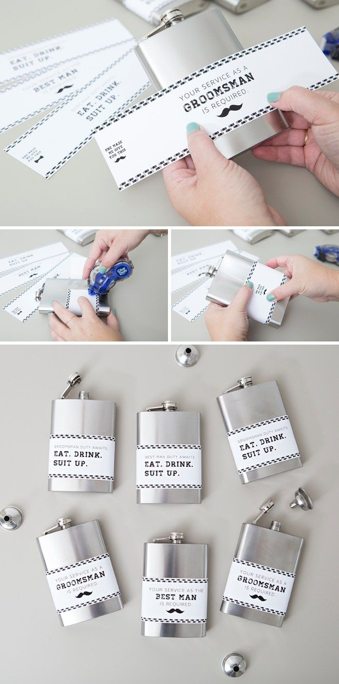 These DIY Groomsman Flask Gifts Are The BEST, free labels ...