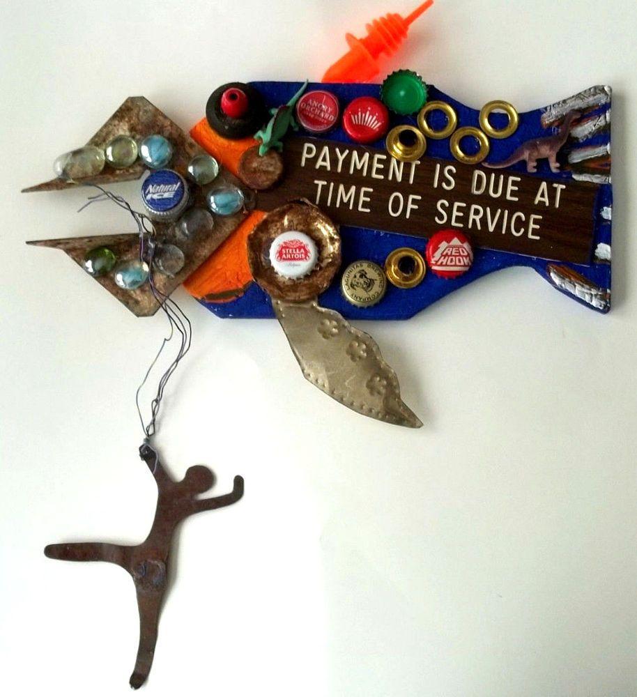 Fish wood wall sculpture outsider original signed ooak