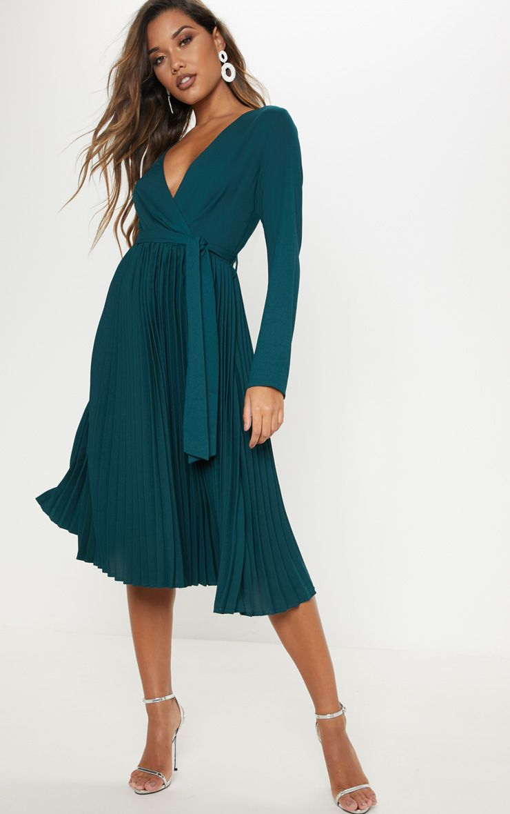 3a1607637684 Emerald Green Long Sleeve Pleated Midi Dress in 2019 | online ...