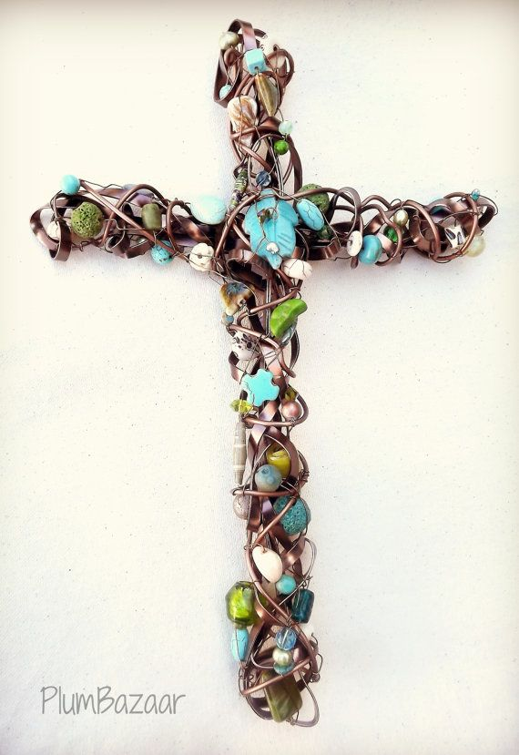 handmade wire wrapped beaded cross wall decor brown and. Black Bedroom Furniture Sets. Home Design Ideas