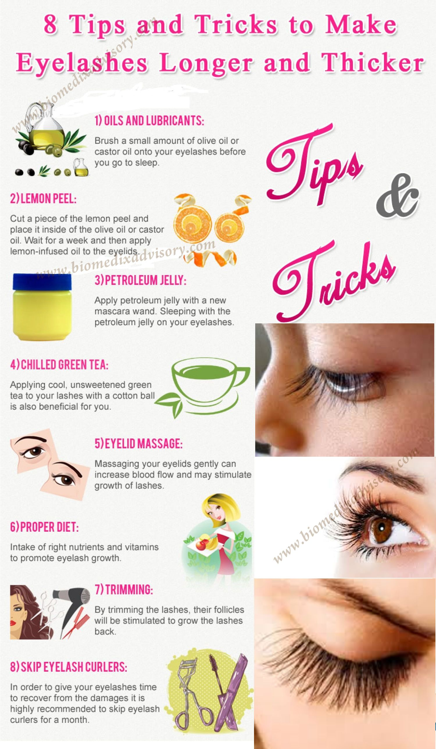 eight tips and tricks to make eyelashes longer and thicker. | beauty