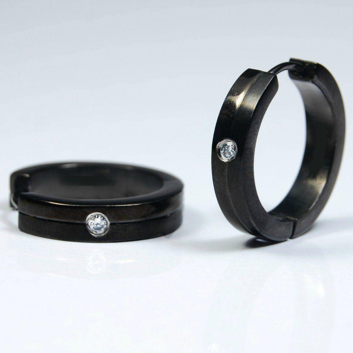 7767790c1d0d3 Men's hoop earrings, extra large black stainless steel hoops with cz ...