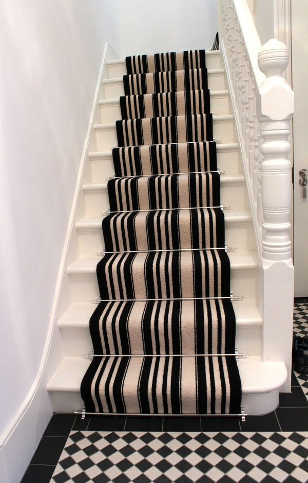 Elegant Carpet For Stairs: Elegant Carpet For Stairs Black And White  Stripes ~ Home Inspiration