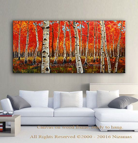 Art on canvas Birch Forest in Fall limited edition Giclee PRINT Home ...