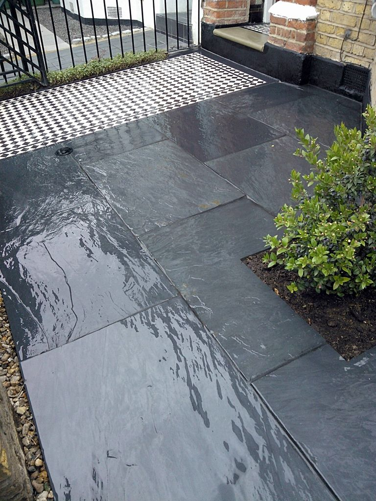slate paving victorian mosaic black and white tile path ... on Black And White Patio Ideas id=79218