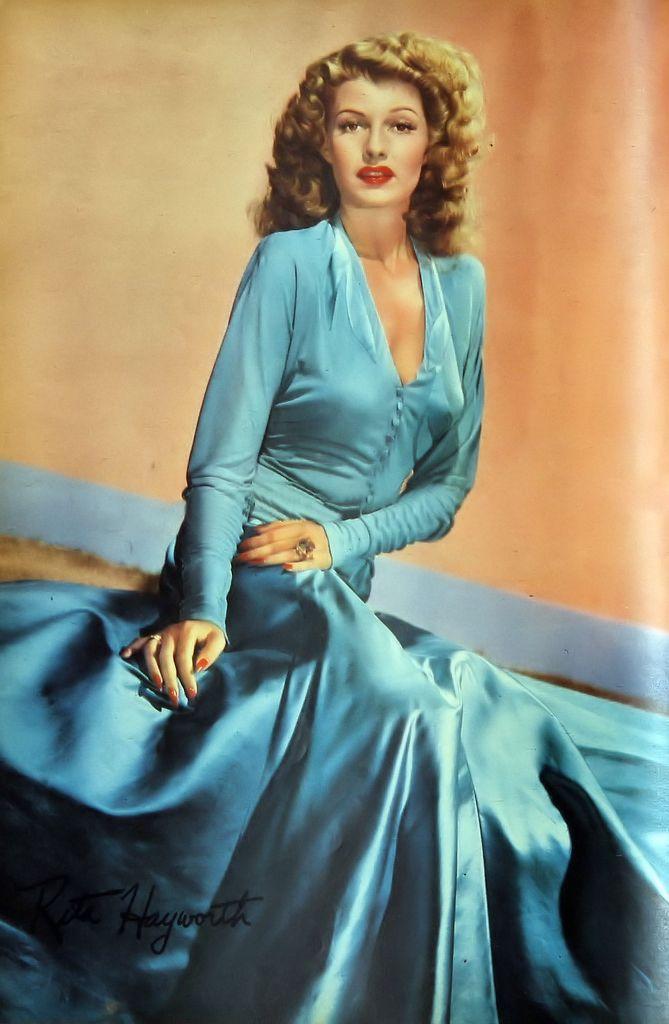 1940s Dress Silky Stars Vintage 40s Dress: 40s Color Photo Print Ad Movie Star Vintage Fashion Blue