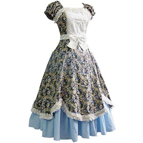 Partiss Damen Sweet Vintage Blumendruck Lolita Kurzaermel Ruffles ...