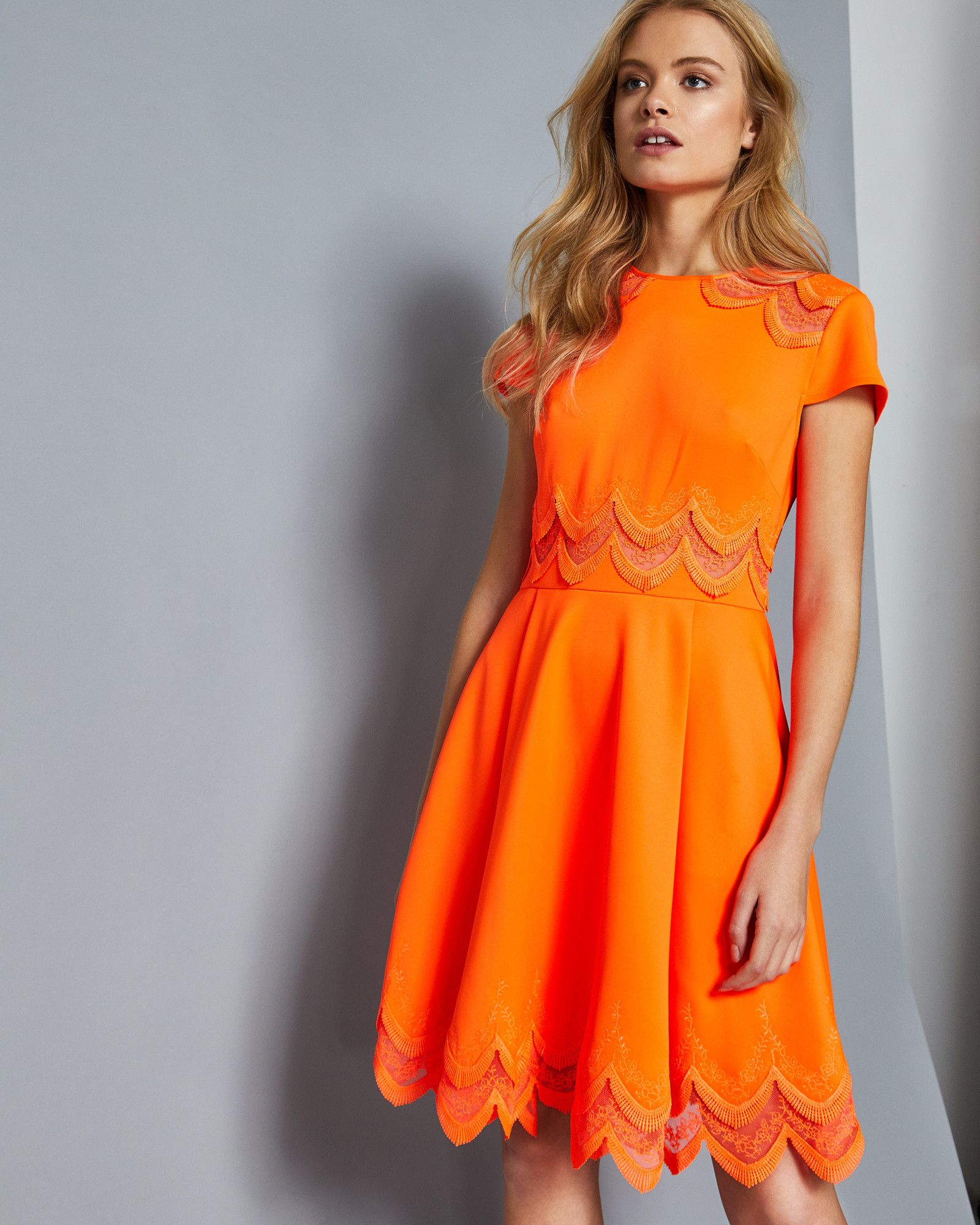 e40873791 Ted Baker Embroidered skater dress Orange