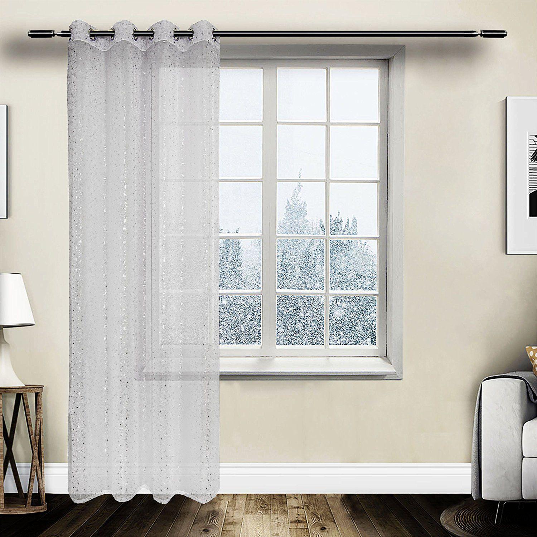 Gardine Vorhang transparent Ösen mit Muster Weiss weiß