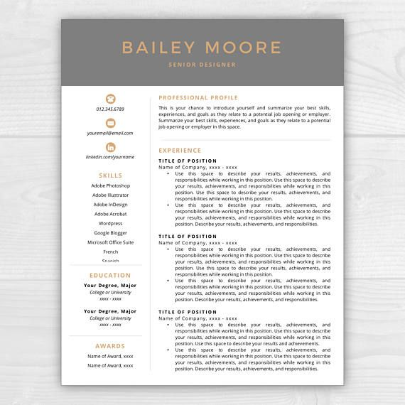 Resume Template, Modern Resume, Resume Template Instant Download