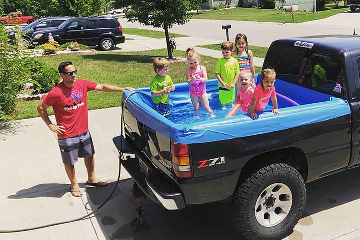 Turn Your Truck Into A Pool This Summer Pick Up Pool Portable Swimming Pools Truck Bed Trucks