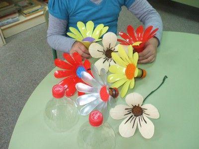 flores recicladas de botellas de plstico