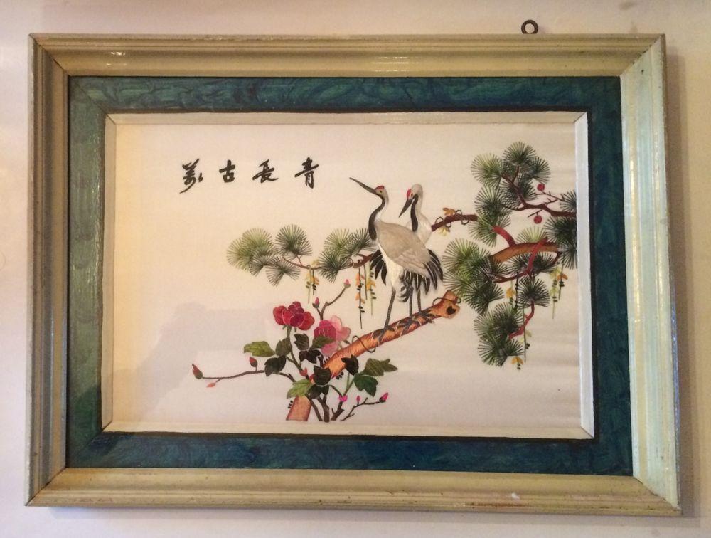 Details About Antique Oriental Silk Embroidered Art Cranes