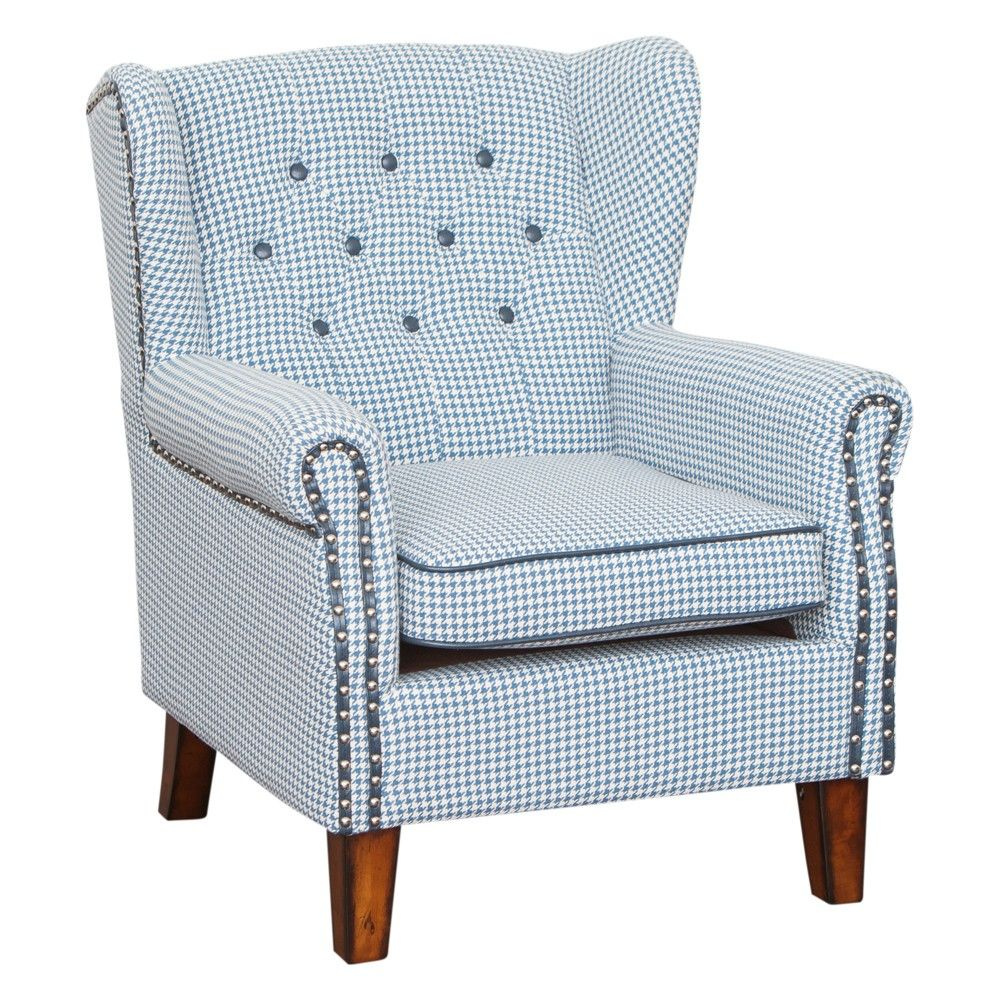Whitby Occasional Chair Blue Houndstooth Farpav.com.au