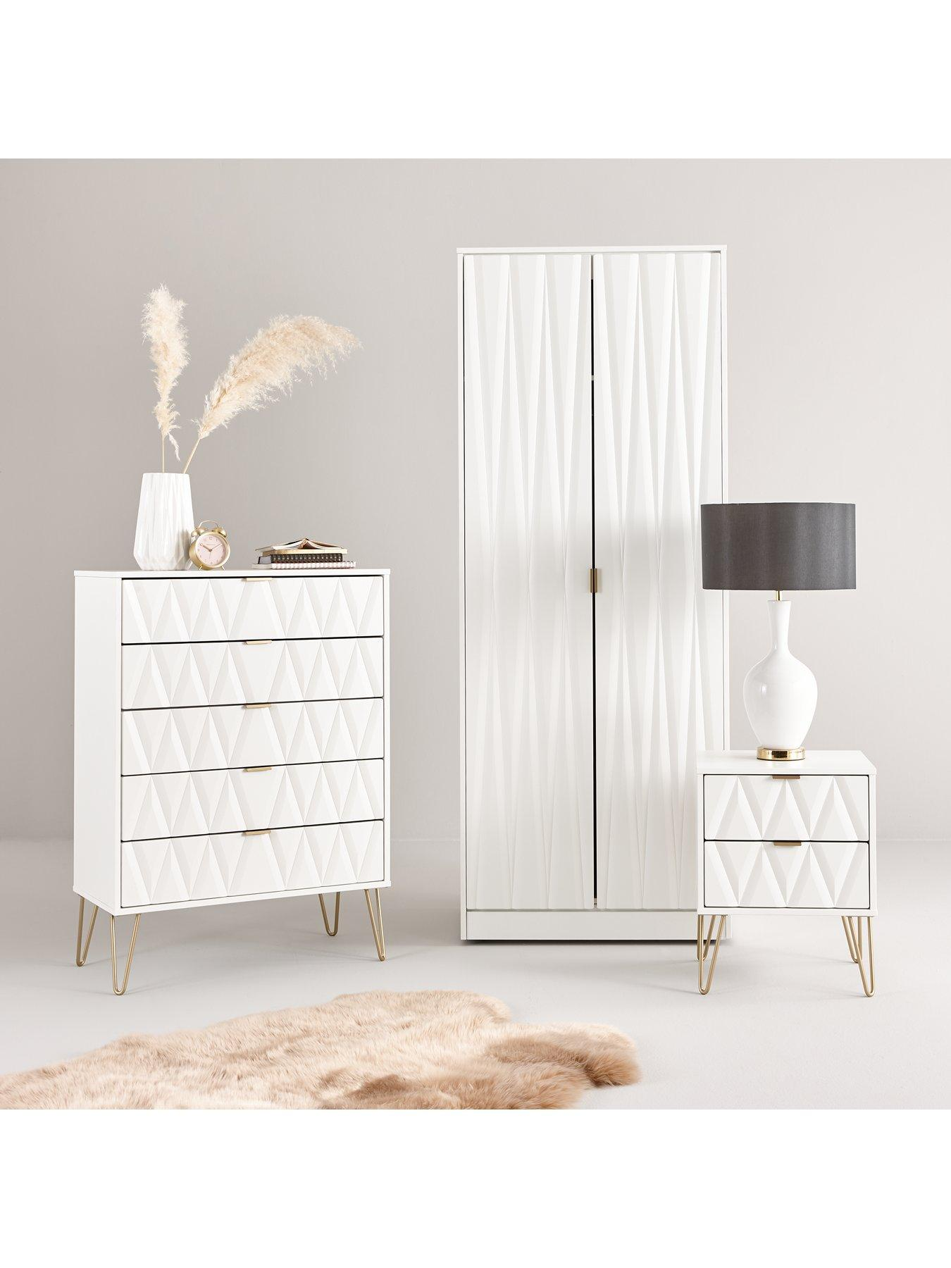 Best Swift Versailles Ready Assembled 2 Drawer Bedside Chest 400 x 300