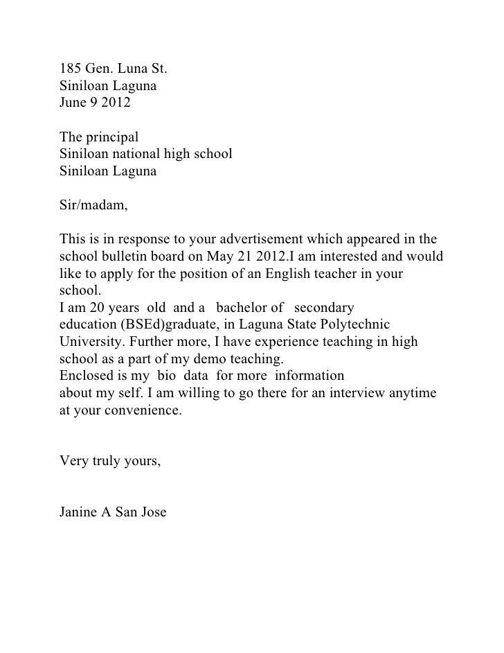 teacher application letter sample philippines reportthenews web infok