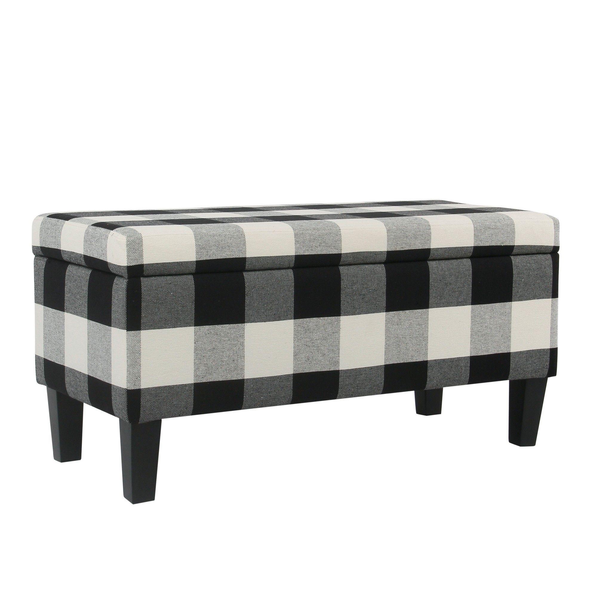 Beau Large Decorative Storage Bench Black Plaid   Homepop