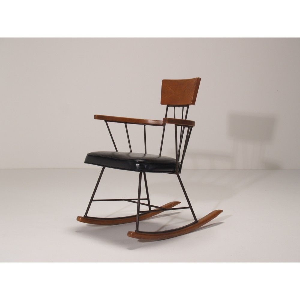 Selrite Rocking Chair By Richard McCarthy. A Richard McCarthy Rocking Chair  In Black Vinyl,
