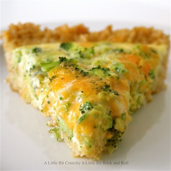 Broccoli and cheddar quiche with a brown rice crust (works with white rice as well).  This looks incredibly yummy.