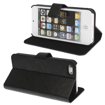 Texture Leather Case with Holder for iPhone 5 (Black)