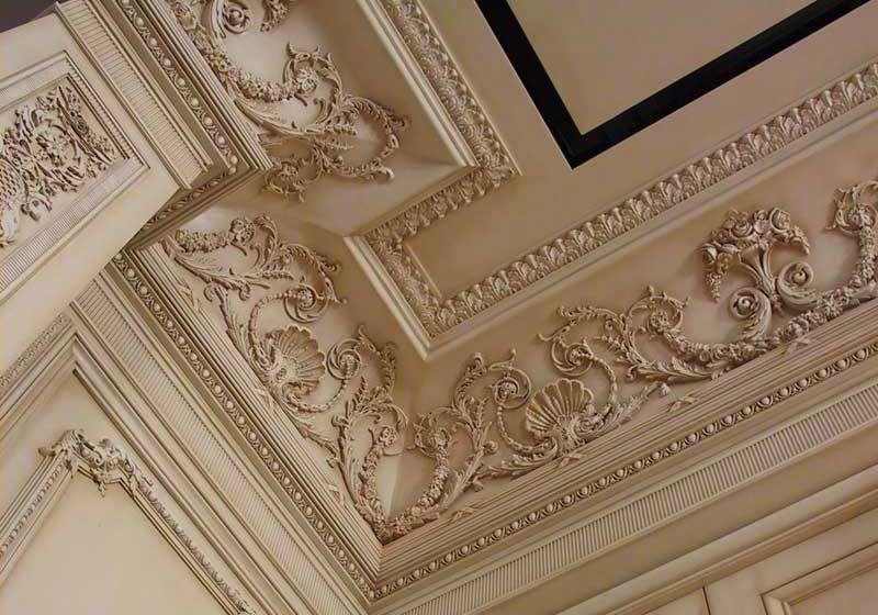 opulent ceiling, ornamental trim, antique white, Baroque ...