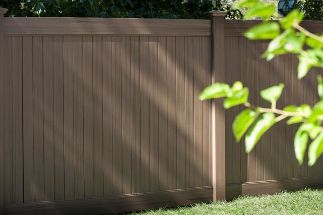 Brown Vinyl Privacy Fence chestnut brown. future outdoors newest vinyl privacy fence color
