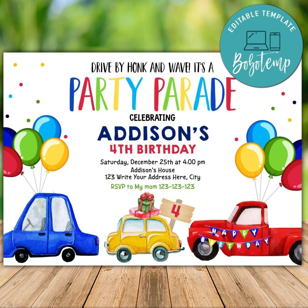 Printable Social Distancing Drive By Birthday Parade Invitation In 2020 Party Invite Template Cars Birthday Invitations Birthday Party Invitations Free
