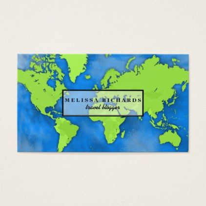 Colorful world map travel blog business card colorful world map travel blog business card glam gifts unique diy special glamour gumiabroncs Image collections